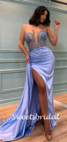 Sexy Sweetheart Mermaid Side Slit Satin Long Prom Dresses.SW1155