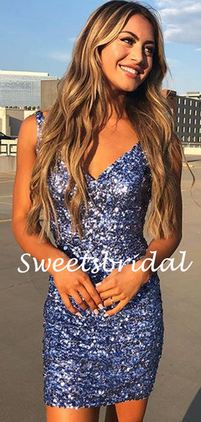 Simple V-neck Spaghetti Strap Sequin Mini Short Homecoming Dresses, BTW306