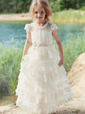 Lovely Round Neck Sleeveless A Line Tulle Flower Girl Dresses,GTE2136
