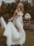 Charming Sweetheart Mermaid Sleeveless Tulle Lace Long Wedding Dresses,WD1152