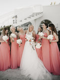 Charming Sweetheart Floor-length Chiffon Sleeveless Long Bridesmaid Dresses, SW1125