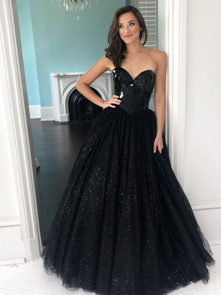 Simple Sweetheart A-line Tulle Sequin Long Prom Dresses.SW1179