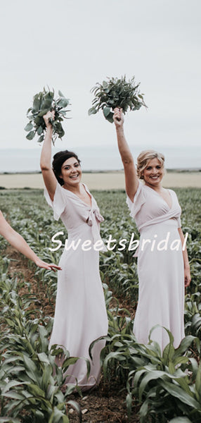 Simple V-neck Short Sleeve Chiffon Party Dresses Long Bridesmaid Dresses, SW1113