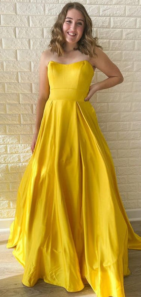 Simple Sweetheart A-line Satin Yellow Long Prom Dresses.SW1180