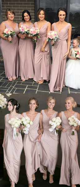 Cheap Dusty Pink V Neck Simple A Line Sleeveless Long Bridesmaid Dresses, SW1090