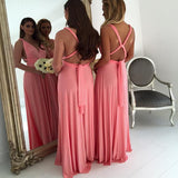 Cheap V Neck Sleeveless A Line Chiffon Floor Length Long Bridesmaid Dresses, SW1072