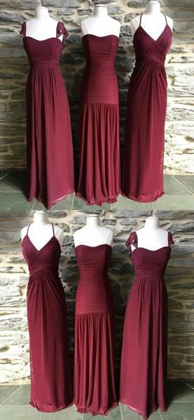 Mismatched Burgundy A Line Chiffon Floor Length Long Bridesmaid Dresses, SW1064