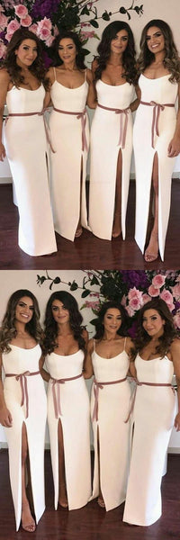 Simple Elegant Spaghetti Strap Side Slit Floor Length Long Bridesmaid Dresses, MD521