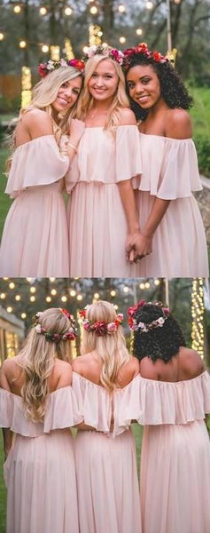 Cheap Light Blush Pink Off The Shoulder A Line Chiffon Long Bridesmaid Dresses, SW1024