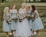 Cheap Dusty Blue Chiffon V Neck A Line Short Bridesmaid Dresses, SW1075