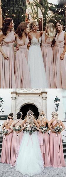 Pretty Mismatched A Line Lace Up Floor Length Long Bridesmaid Dresses, MD508