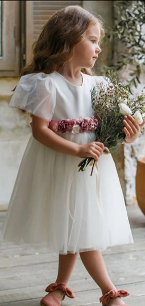 Lovely Round Neck A Line Tulle Flower Girl Dresses,GTE2138
