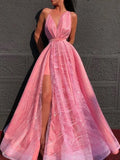 Simple V-neck A-line Sleeveless Side Slit Floor Length Prom Dresses,SW1019
