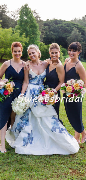 Simple Sexy V-neck Spaghetti Strap Slit Party Dresses Bridesmaid Dresses, SW1103