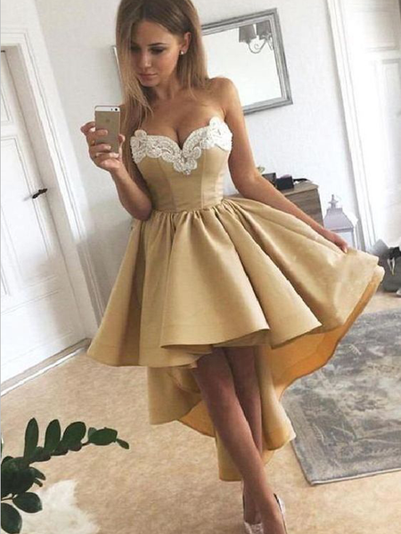 Sexy Sweetheart Lace Applique A Line High Low Homecoming Dress, BTW172