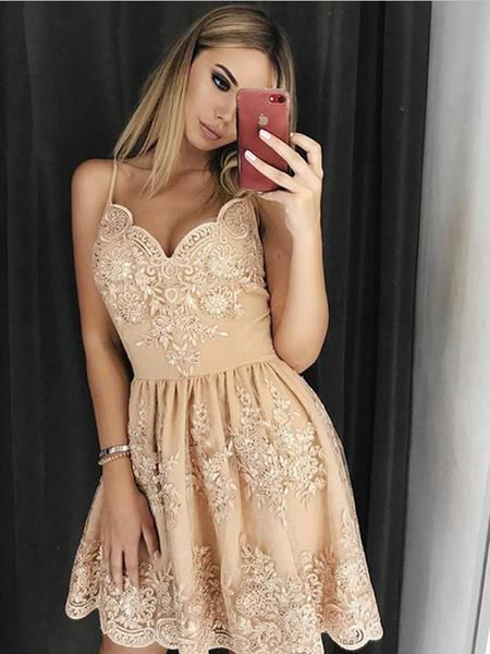 Elegant Spaghetti Strap V Neck Lace A Line Short Homecoming Dress, BTW174