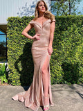 New Arrival Off-shoulder Mermaid Side Slit Evening Party Prom Dresses, SW1128
