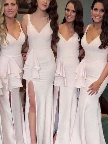 Simple V Neck Side Slit Mermaid Long Bridesmaid Dresses ,MD348