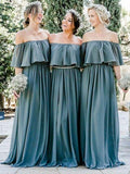 Cheap  A-line Off-the-shoulder Chiffon Floor-length Long Bridesmaid Dresses , SW1003