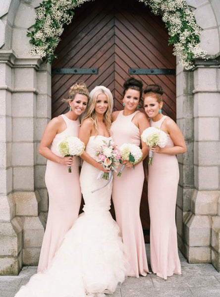 Simple Halter Blush Pink Mermaid Floor Length Long Bridesmaid Dresses, SW1066