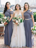 Dark Grey Chiffon One Shoulder Long A-line Simple Elegant Bridesmaid Dresses, WG102