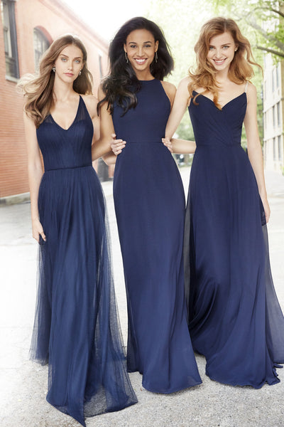 Mismatched A Line Floor Length Cheap Chiffon Long Bridesmaid Dresses, MD446