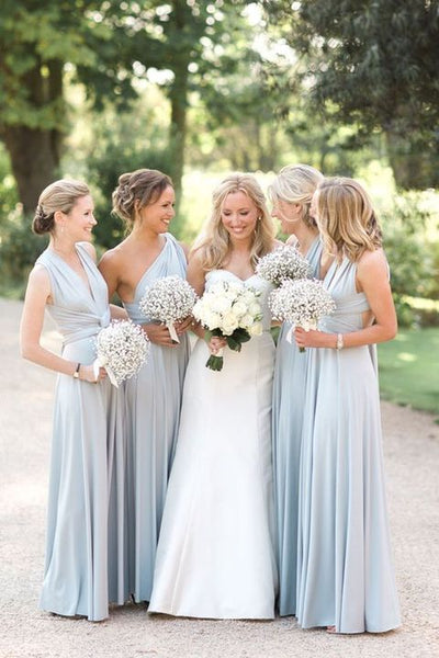 Mismatched A Line Cheap Chiffon Floor Length Long Bridesmaid Dresses, SW1037