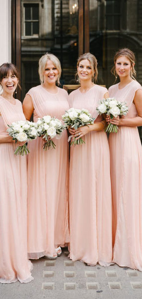 Affordable Round Neck Sleeveless A Line Floor Length Long Bridesmaid Dresses, SW1085
