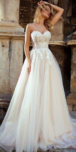 Elegant Sweetheart Neckline A Line Lace Appliques Pretty Wedding Dresses ,MD341