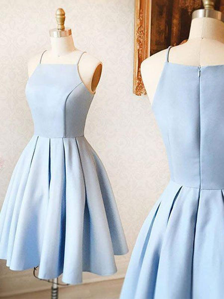 Cheap Light Blue Spaghetti Straps Satin A Line Short Homecoming Dresses, BTW153