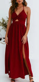 Sexy Halter V Neck Side Slit Chiffon Sleeveless Long Evening Prom Dresses, MD389