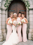 Simple Halter Blush Pink Mermaid Floor Length Long Bridesmaid Dresses, MD506