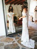 Vintage Off Shoulder Half Sleeve See Through Ivory Lace Nude Wedding Dresses, WD0009