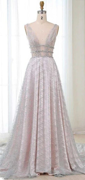 Gorgeous A Line Deep V Neck Sleeveless Long Prom Dresses ,MD357