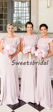 Cheap Light Pink Ruffle Sleeves Sweep Trailing Mermaid Long Bridesmaid Dresses, SW1032