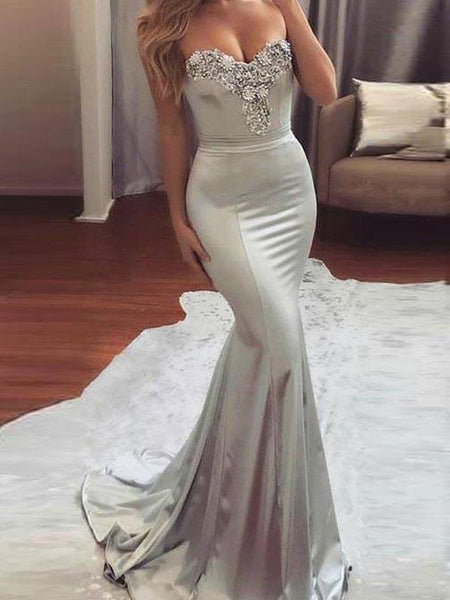 Shinning Beaded Applique Sweet Heart Mermaid Sweep Trailing Long Prom Dresses ,MD364