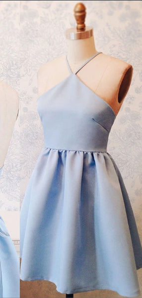 Simple Halter Light Blue Lace Up Satin A Line Short Homecoming Dress, BTW185