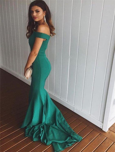 Unique Off The Shoulder Sweep Trailing Long Mermaid Prom Dresses, MD405