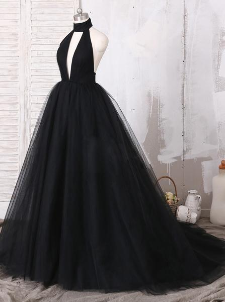 Pretty Black Halter Tulle Ball Gown Open Back A Line Long Prom Dresses, MD418