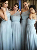 Pretty Light Blue Lace Top One Shoulder Long Bridesmaid Dresses ,MD349