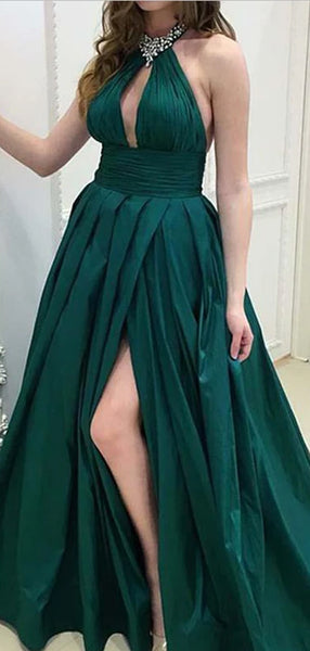 Sexy High Neck Side Slit Backless Evening Dress,Long Prom Dresses, DPB165