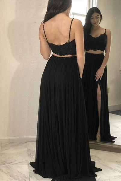 Sexy Black Two Pieces Spaghetti Straps Side Slit Long Prom Dresses, MD392