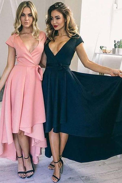 Sexy Deep V Neck High Low Short Homecoming Dresses ,BTW128