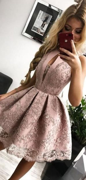 Sexy Halter Sleeveless Satin A Line Lace Applique Short Homecoming Dress, BTW182