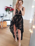 Unique Deep V Neck Sleeveless Black Lace High Low Homecoming Dress, BTW167