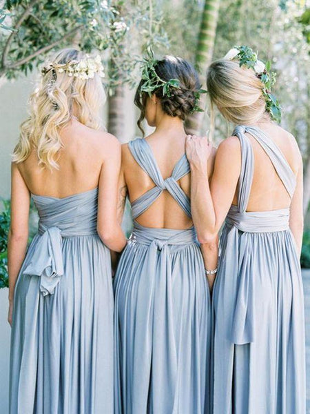 Simple Blue Handmade Custom Make Floor-Length Long Bridesmaid Dresses, MD487