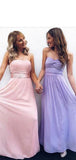 Cheap A Line Strapless Sleeveless Mismatched Chiffon Long Bridesmaid Dresses, SW1030