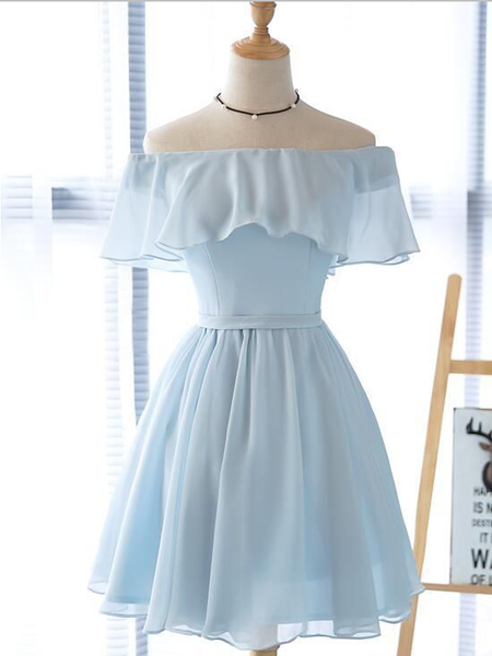 Simple Off The Shoulder Light Blue Chiffon A Line Short Homecoming Dress, BTW184
