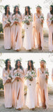 Elegant Long Sleeves Deep V Neck Side Slit Chiffon Long Bridesmaid Dresses, SW1088