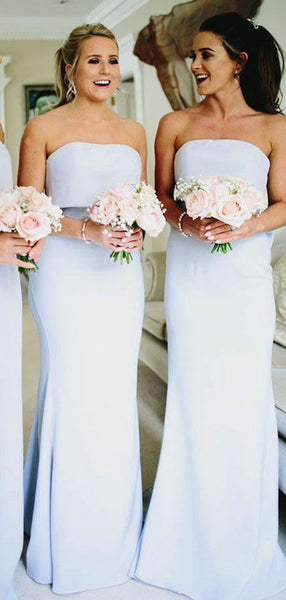 Elegant Strapless Light Blue Cheap Mermaid Chiffon Long Bridesmaid Dresses, SW1015
